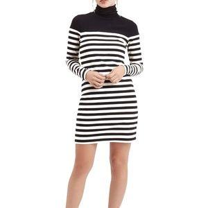Topshop black and cream stiped turtleneck dress